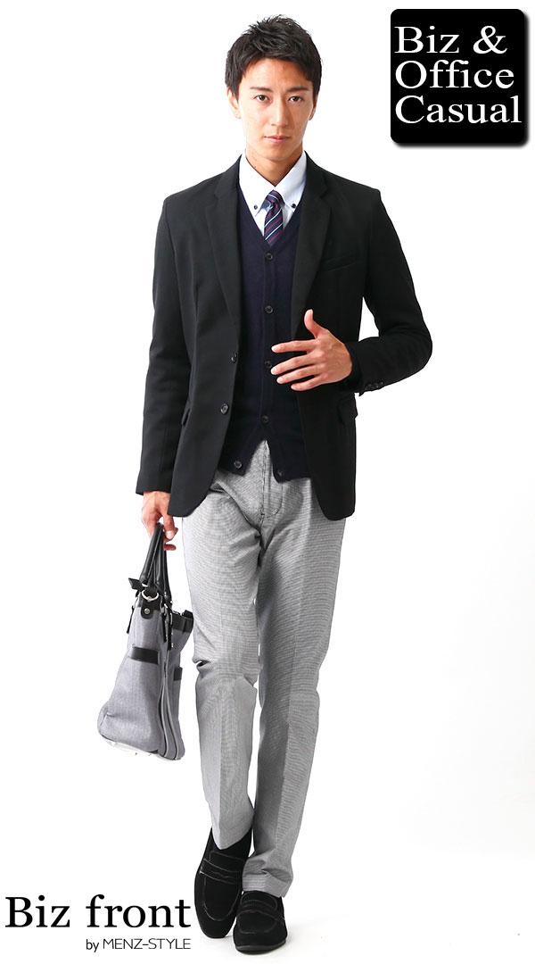 ビジネスカジュアルコーディネート画像 ブラックテーラードジャケット×ネイビーカーディガン×千鳥格子パンツ biz15-16aw_1948