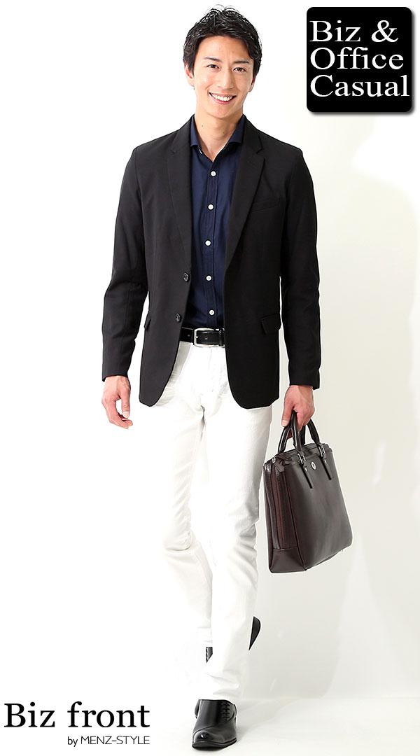 ビジネスカジュアルコーディネート画像 ブラックテーラードジャケット×ネイビーシャツ×ホワイトジーンズ biz17ss_1009