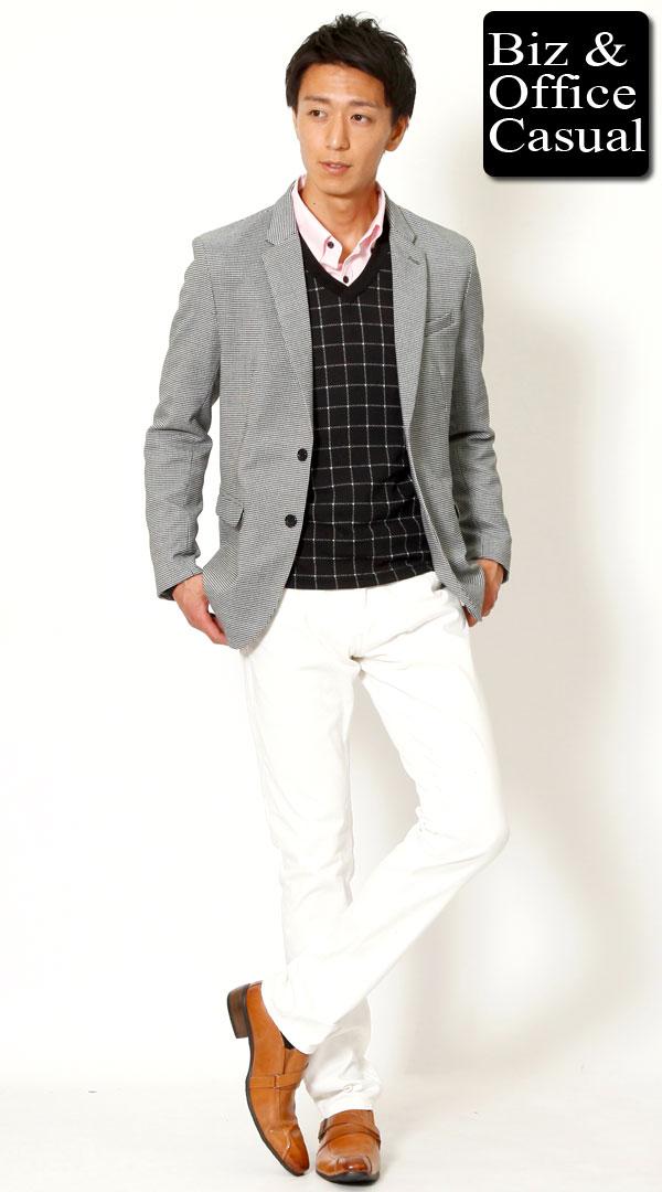 千鳥格子ジャケット×ウインドウペンニット×ピンクシャツ×ホワイトパンツ biz14-15aw3874【ビジネスカジュアル・ジャケパンコーディネート】 - メンズビジネスカジュアル(ビジカジ)通販