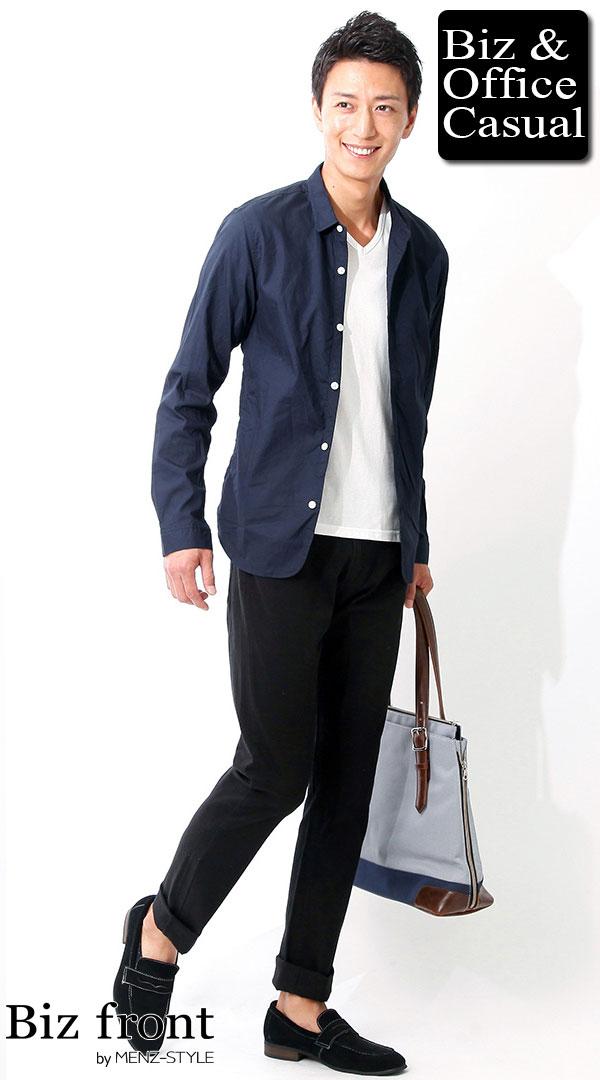 ネイビーシャツジャケット×ホワイトカットソー×スキニーブラックパンツ biz16-17aw_0227【コーディネート|ビジネスカジュアル・ジャケパン】 - メンズビジネスカジュアル(ビジカジ)通販
