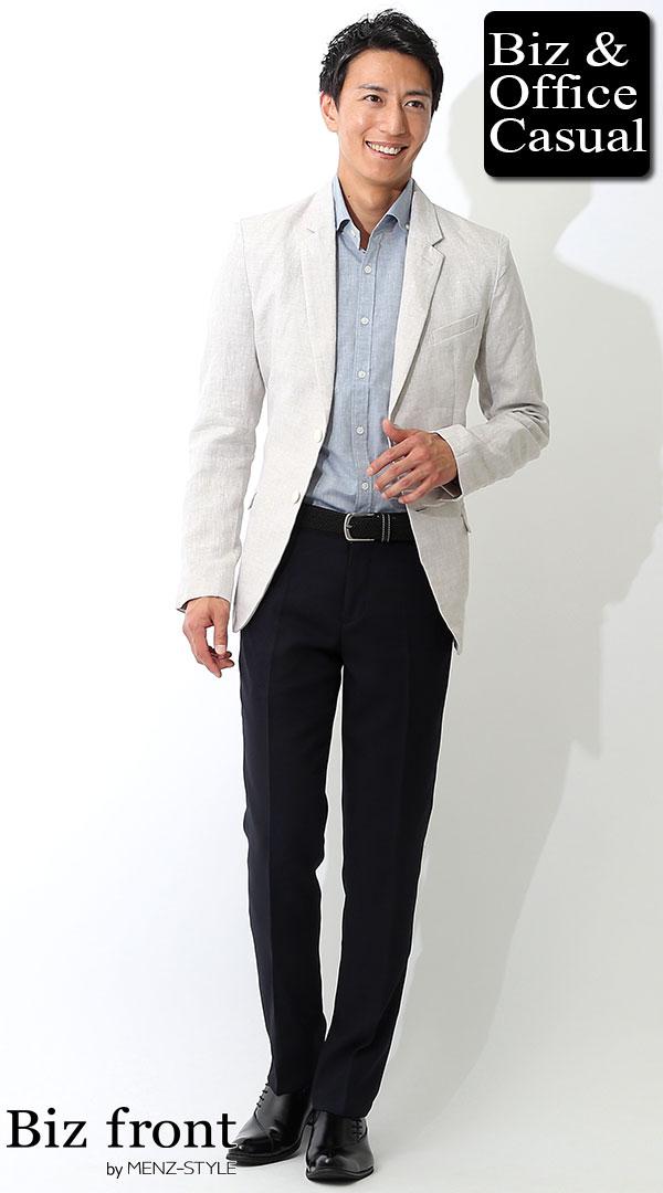 ベージュ麻ジャケット×ネイビーシャンブレーシャツ×ネイビースラックス biz17ss_2753  【ビジネスカジュアル・オフィスカジュアルコーディネート】 , メンズビジネス